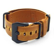 StrapsCo Tan Ultra Distressed Mens Tan Leather Watch Band Strap w/ Black Buckle