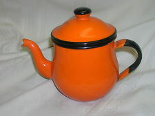 "Small Enameled Orange & Black Tea Pot Marked Japan 5"" Tall"