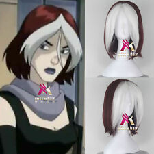 X-men Rogue Short wigs Wavy Wine Red and White Women Movie Cosplay Hair Wig