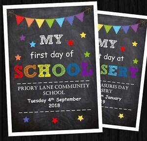 FIRST DAY OF SCHOOL PRINT PERSONALISED A4 BACK 2 SCHOOL CHALKBAORD RECEPTION a4m