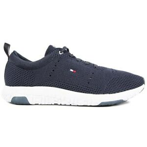 TOMMY HILFIGER Mens Corporate Knit Running Style Trainers Blue