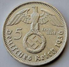5 Reichsmark 1936 D, Third Reich Germany, Paul von Hindenburg