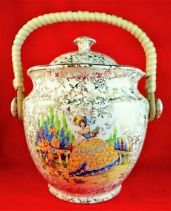 CRINOLINE LADY Biscuit Barrel COUNTRY GARDEN China EMPIRE WARE 1953 Gorgeous