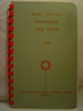 Brief British Passenger Car Data, 1958 - Specs on all 24 brands NEAR FINE!