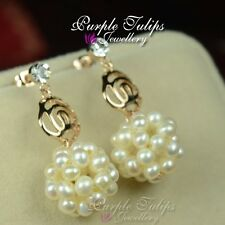 18CT Rose Gold GP Rose Pearls Ball Stud Earrings Made With Swarovski Crystals