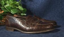 Handsome Dark Brown Moc Croc WHITTEN'S Private Stock Leather Loafers Sz 10.5M