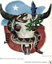 Mack Stanley Texas Artist CONTAINER CORPORATION OF AMERICA Skull SNAKE 1949 Ad
