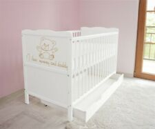 New White Wodden Baby 2in1 Cot Bed / mattress / teething rails / drawer a