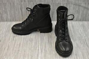 Rocket Dog Irys Rancho Faux Leather Combat Boots, Women's Size 8, Black NEW