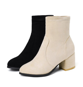 Women's Suede Round Toe Block Mid High stiletto Pull On Ankle Boots Winter Shoes
