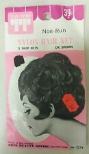 Vintage Hair Nets! Nylon! Non-Run! Pack of 3!(Dark Brown)Unique old Items! Nice!