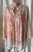 Susan Graver 2 Piece Separate Sheer Blouse With Tank Top SZ L