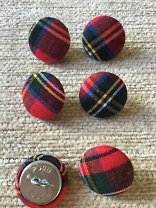 Red Tartan 30L/19mm Cotton Fabric Covered Buttons Craft Sewing Upholstery