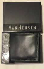 Van Heusen Men's Faux Leather Bi Fold Wallet, Black/Green, NEW