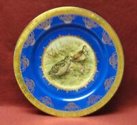 Antique ROYAL VIENNA STW Porcelain PLATE - Woodcock Birds w/Cobalt Blue & Gold