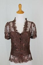 Milly of New York Sheer Copper Lace Retro Peplum 2 piece Top Size 2 XS