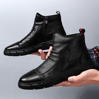 Mens Casual Fashion High top Boots Outdoor Sneakers Boots Walking Martin Shoes