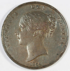 Great Britain 1854 Penny Large Copper Coin AU Queen VICTORIA Young Head KM#739