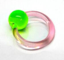 New UV Acrylic Captive Bead Closure Ring Green 6mm Bead 12mm Round Hoop Piercing