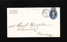 W.J. Sloane New York City 1890 to Chemnitz Germany 5c Grant PSE Entire Cover 3y