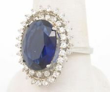 """Size 8 with 14*11mm Sapphire Quartz Handmade Vintage 14K Gold Filled 0.9"""" Ring"""