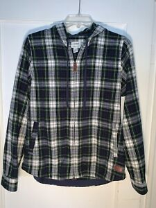 LL Bean Womens Scotch Plaid Flannel Zip Up Hoodie Relaxed Fit Size XS. b781