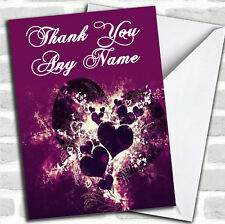 Purple Hearts And Swirls Thank You Customised Card