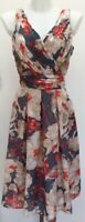 BNWT Rrp £165 Laura Ashley Grey Coral Fit N Flare Floral Midi Occasion Dress 14
