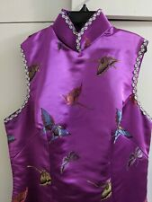 Custom long purple butterfly cheongsam qipao with silver trimming