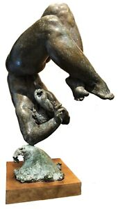 Jose Ines, Nude Female Diver, Mexican Patinated Bronze Sculpture, XX Century