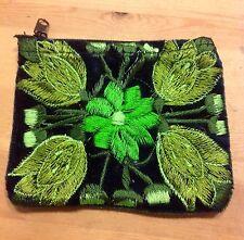 Coin purse Green Guatemalan Embroidery  Floral Design Card Holder Fair Trade