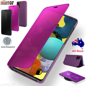 For Samsung Galaxy A51 A21S Case Leather Mirror View Flip Stand Shockproof Cover