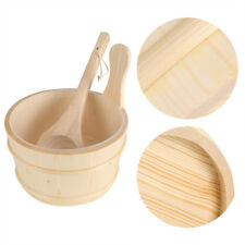Sauna Wooden Bucket Pail Ladle With Linner Combined Set Sauna Room Accessory GL