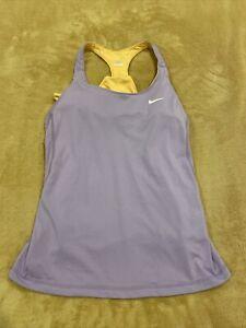 Womens Medium Nike Dri-Fit Racerback Activewear Tank Top Built in Bra Purple EUC
