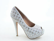 Women's Bridal Open Round Toe Stiletto High Heel Platform Pumps Shoes 5.5 - 10