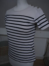 CAMAIEU sailors t shirt thick cotton ivory white x navy striped size S
