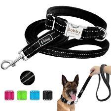 Nylon Reflective Personalised Dog Collar&Leash Set Soft Plush Padded Pet ID Name