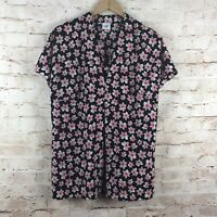 CAbi #5347 Floral Harmony Popover Blouse Top Inverted Pleat Women's Size Medium
