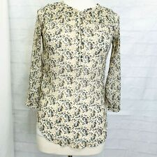 Lucky Brand Womens S Top Tunic Beige Blue Yellow Floral Sheer 1/2 Button Boho #P