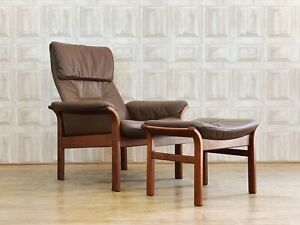 VINTAGE G-Möbel Reclining Chair & Stool - Teak & Brown Leather *£60 DELIVERY*