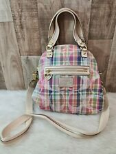 Coach Poppy Madras Pastel Multicolor Signature Satchel Handbag