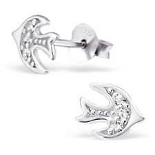 Tattoo Style 925 Sterling Silver & Pave Cubic Zirconia CZ Swallow Ear Studs Stud