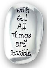 WITH GOD ALL THINGS ARE POSSIBLE - METAL THUMB STONE COMFORT WORRY OTHERS LISTED