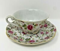 VINTAGE LEFTON CHINA HAND PAINTED ROSE CUP & SAUCER #NE 656