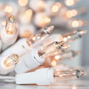 White Wire Christmas Lights Steady Mini Light String Lighting Holiday 50 Bulb
