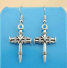 "Pair of 1-3/8"" x 3/4"" CROSS OF NAILS Hook Dangle Earrings Christian Religious #5"