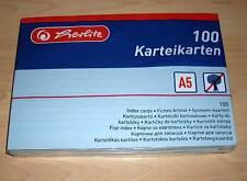 100 Karteikarten Herlitz DIN A5 blau liniert ( blue mit Linien Cards Büro ) Neu