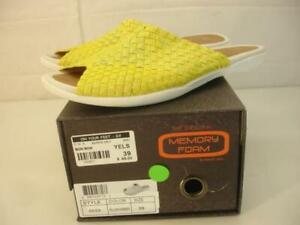 NIB Women's 9 39 Bernie Mev Bon Bon Bonbon Yellow Shimmer Sandals Stretch Slides