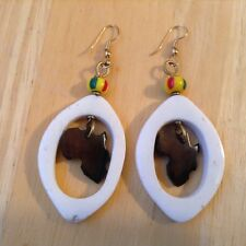 African-Arena Handcrafted Maasai Masai Cow Horn Bone Africa Map Earrings AA16