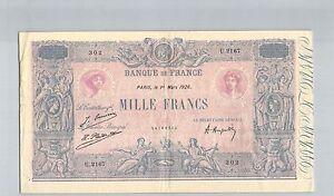 France 1000 Francs Blue And Pink 1 Mars 1926 U.2167 N° 54169302 Pick 67J